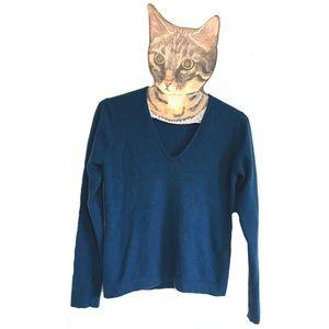 White + Warren Cashmere Vneck V-neck Sweater Blue